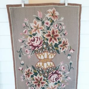 Antique Floral Needlepoint Tapestry / Wall Hanging